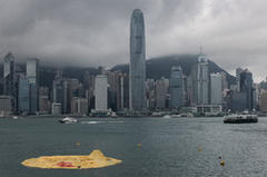 Hong Kong cries fowl as giant rubber duck deflates